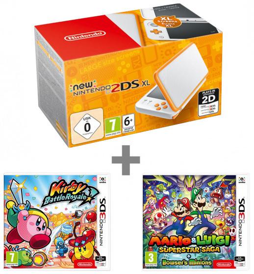 Nintendo New 2DS XL, bílá/oranžová + Kirby Battle Royale + Mario & Luigi: Superstar Saga