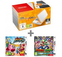 Nintendo New 2DS XL, bílá/oranžová + Kirby Battle Royale + Mario & Luigi: Superstar Saga NI3H97220