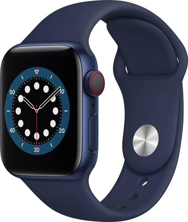 Apple Watch Series 6 Cellular, 40mm, Blue, Deep Navy Sport Band - Regular
