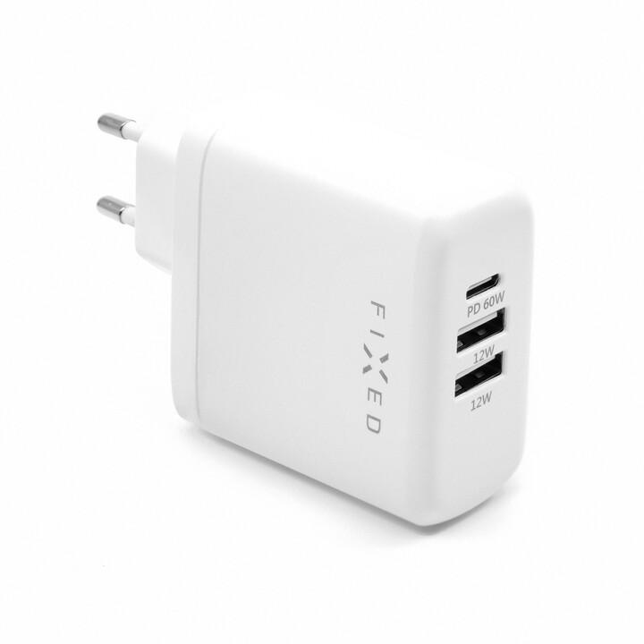 FIXED síťová nabíječka USB-C, 2xUSB-A, PD, 60W, bílá