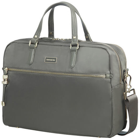 "Samsonite Karissa Biz BAILHANDLE 15.6"" 2 COMP Gunmetal Green"