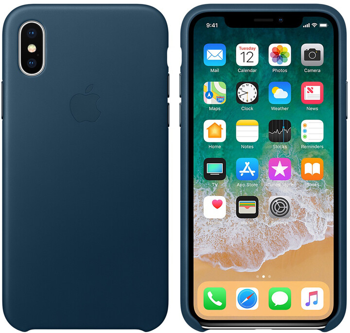 Apple kožený kryt na iPhone X, vesmírně modrá