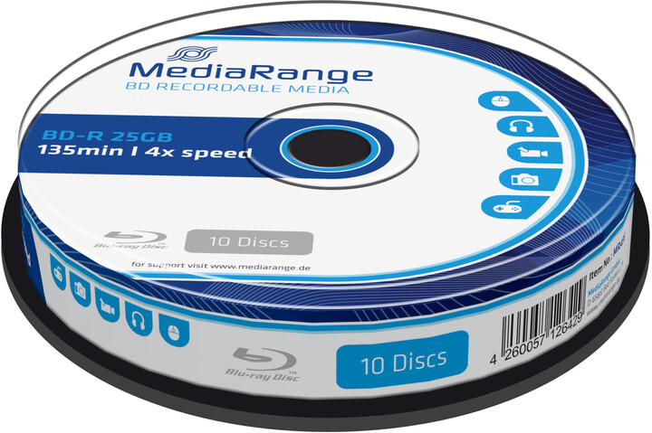 MediaRange BD-R 4x, 25GB, 10 ks, spindle