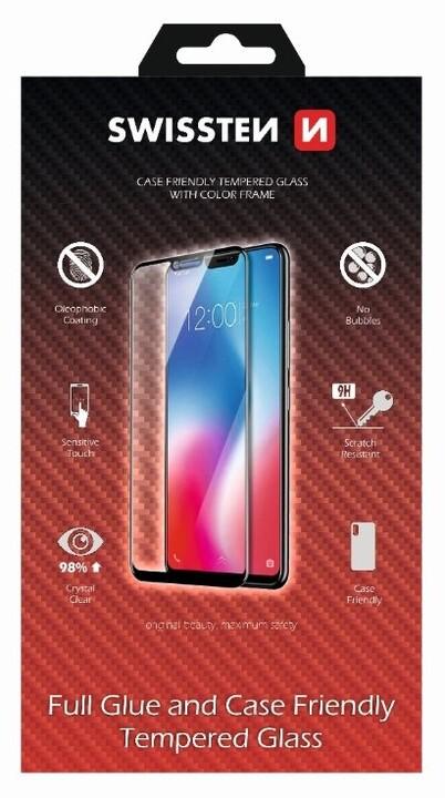 SWISSTEN ochranné sklo pro Apple iPhone X/XS, case friendly, černá