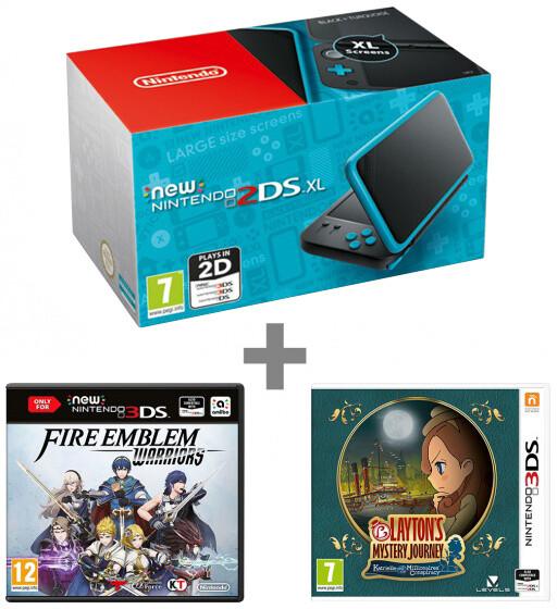 Nintendo New 2DS XL, černá/tyrkysová + Fire Emblem: Warriors + Layton's Mystery Journey