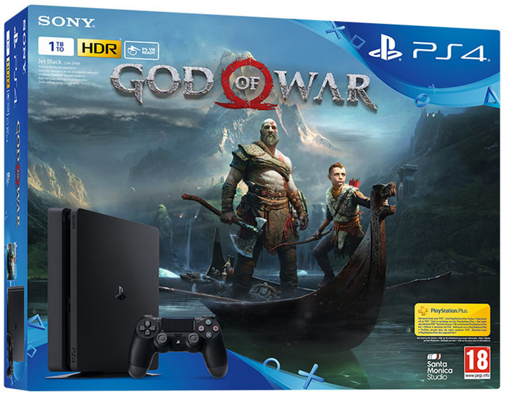 PlayStation 4 Slim, 1TB, černá + God of War