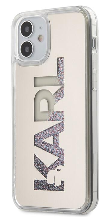 "KARL LAGERFELD ochranný kryt Liquid Glitter Multi Mirror pro iPhone 12 Mini (5.4""), stříbrná"