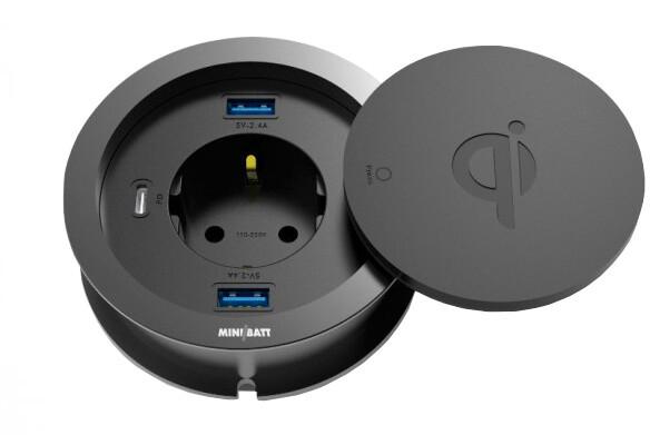 miniBatt Fr80 MULTICHARGER – Qi vestavěná bezdrátová nabíječka 10W, 3x USB, 220V, černá