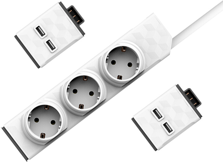 PowerCube modulární zásuvkový systém PowerStrip Modular Switch, 3 zásuvky, 1.5m, bílá + 2xUSB modul