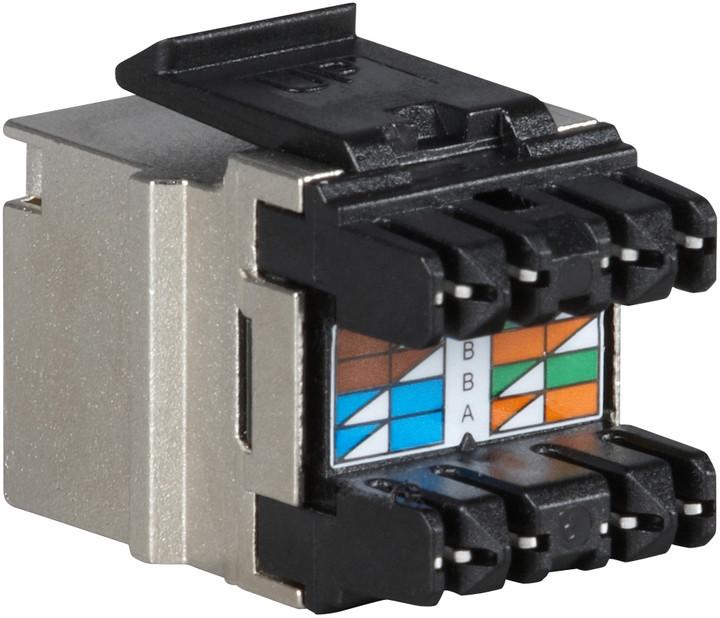 Solarix rychlozařezávací keystone CAT6 STP RJ45 černý pro kleště SXKJ-NA-BU