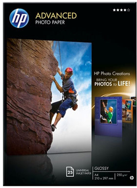 HP Foto papír Advanced Glossy Q5456A, A4,25 ks, 250g/m2, lesklý