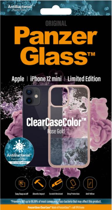 PanzerGlass ochranný kryt ClearCase pro iPhone 12 mini, antibakteriální, růžová