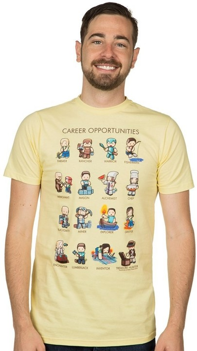 Tričko Minecraft Career Opportunities, žluté (US L / EU XL)