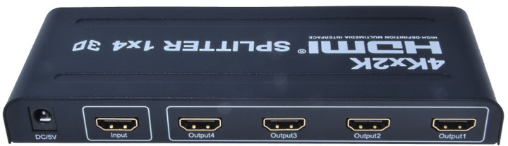 PremiumCord HDMI splitter 1-4 porty, kovové pouzdro, 4K, FULL HD, 3D