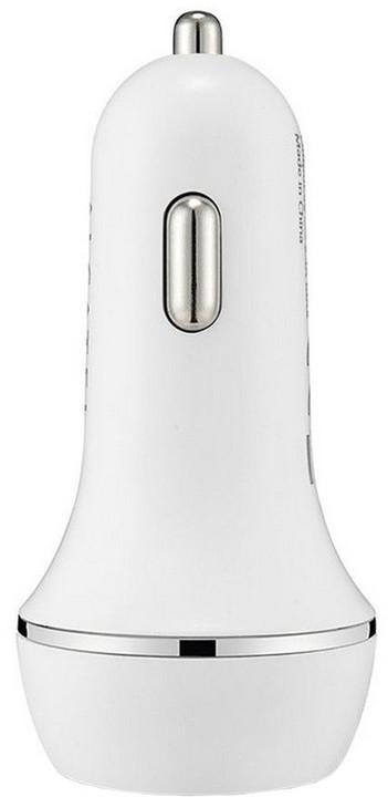 ALCATEL Dual autoadaptér USB 2.1A bez kabelu, bílá