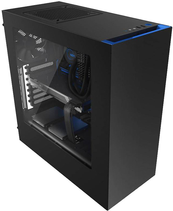 NZXT S340, USB 3.0, černá s modrou