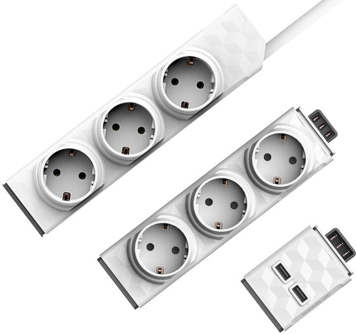 PowerCube modulární zásuvkový systém PowerStrip Modular Switch, 3 zásuvky, 1.5m, bílá + Modul Strip + USB modul