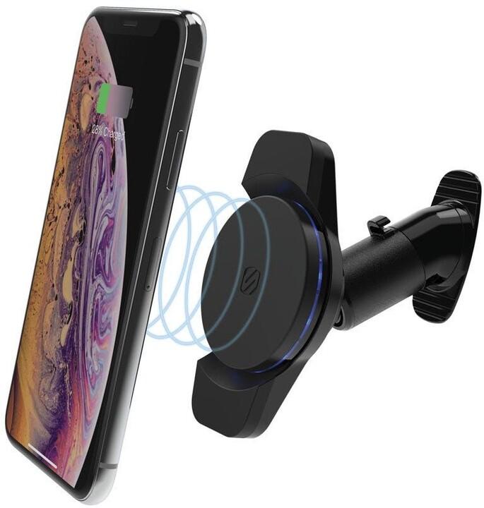Scosche držák se samolepící základnou, magnetický, bezdrátové nabíjení, Qi, 10W, černá
