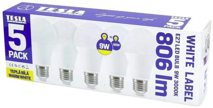TESLA LED žárovka BULB E27, 9W, 3000K, teplá bílá, 5ks v balení