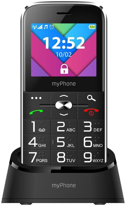 myPhone Halo C Senior, Black s nabíjecím stojánkem