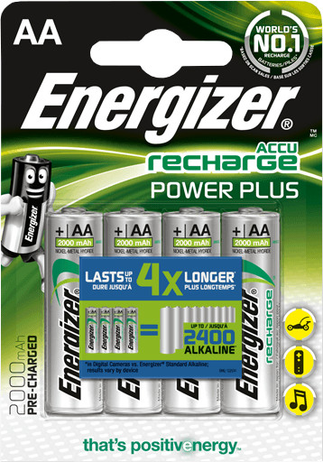 Energizer baterie AA/HR6 POWER PLUS nabíjecí 2000mAh , 4ks