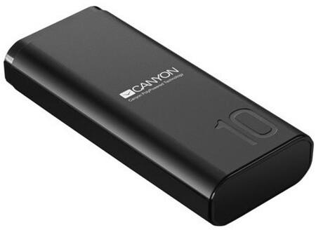 Canyon powerbanka 10000 mAh Li-poly, Smart IC, USB kabel 0,25m, černá