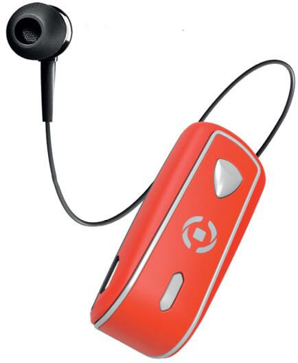 CELLY SNAIL, bluetooth headset s klipem a navijákem kabelu, červená