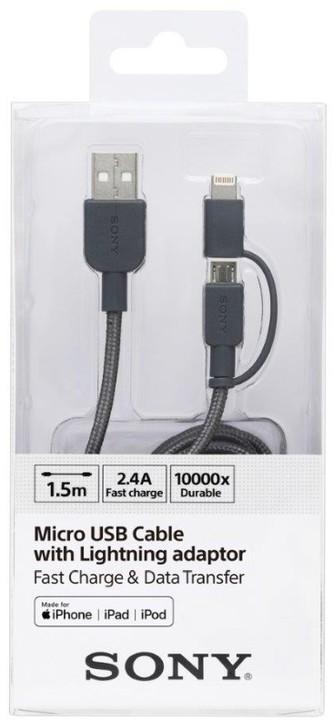 SONY kabel lightning 150cm, šedá