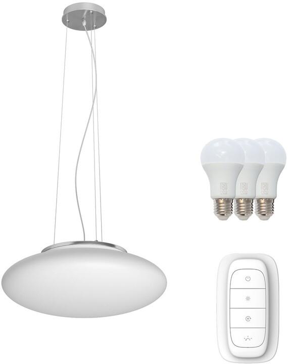 IMMAX NEO ELIPTICO závěsné svítidlo bílé sklo 50cm včetně Smart zdroje 3xE27 RGBW
