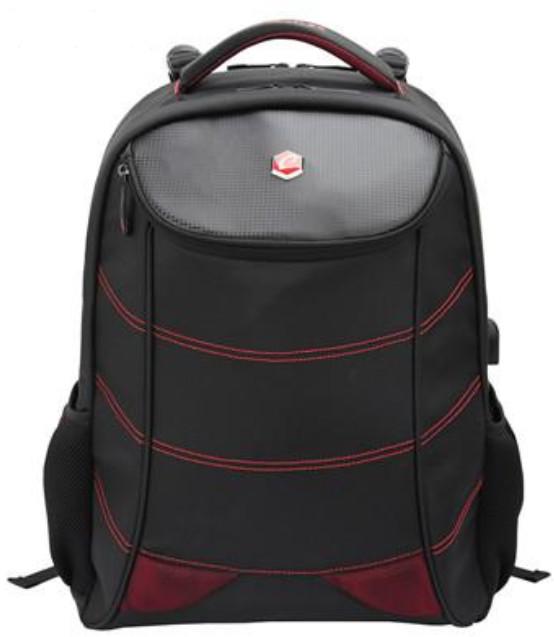 "BESTLIFE Gaming batoh 17"" s USB konektorem, černá s červenými prvky"