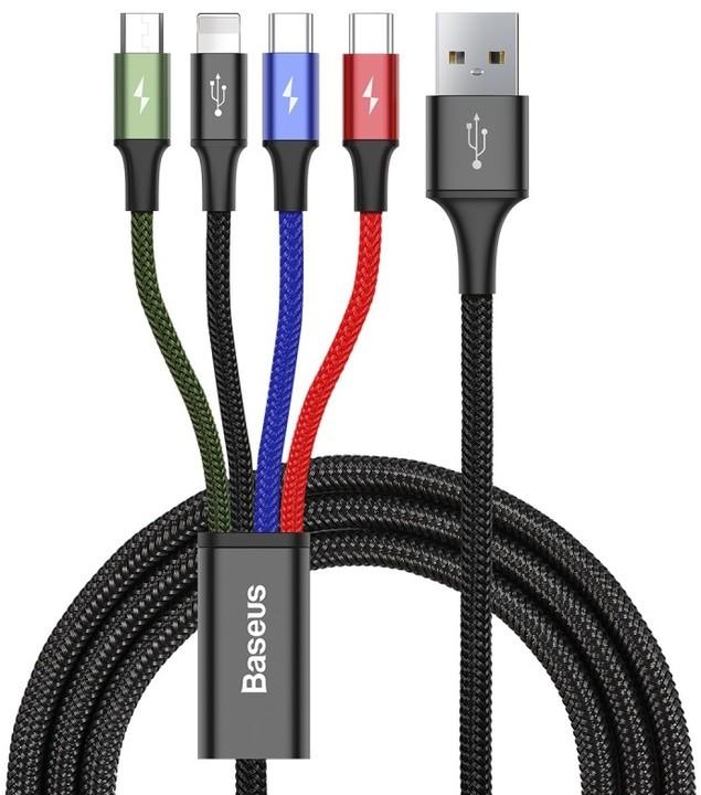 Baseus kabel Fast 4-in-1 Lightning + Type-C (2) + Micro 3.5A 1.2M, černá