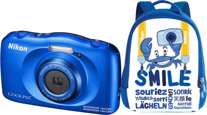 Nikon Coolpix W150, modrá + Backpack kit