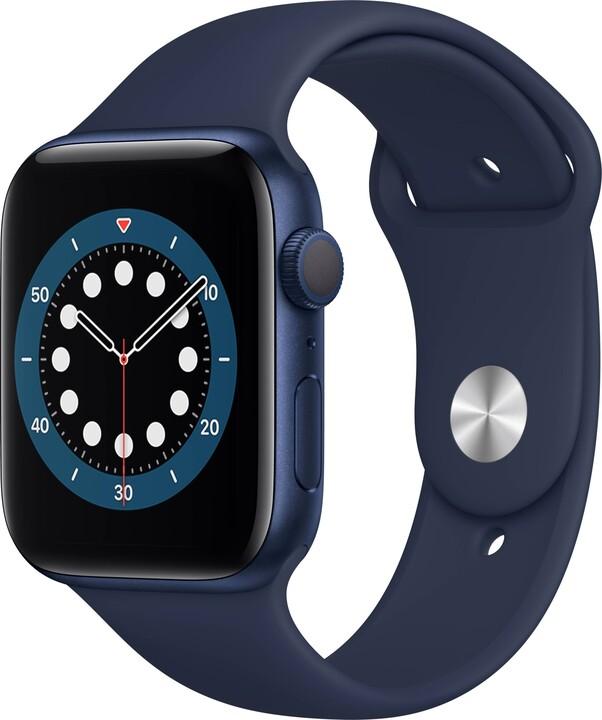 Apple Watch Series 6, 44mm, Blue, Deep Navy Sport Band
