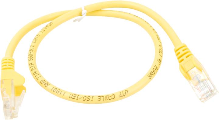 UTP kabel rovný kat.6 (PC-HUB) - 1m, žlutá