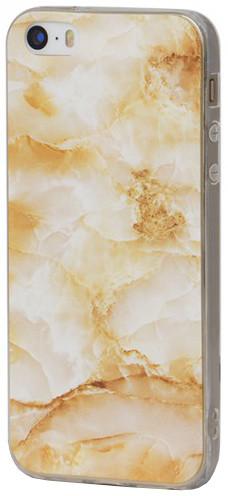 EPICO pružný plastový kryt pro iPhone 5/5S/SE MARBLE - zlatý