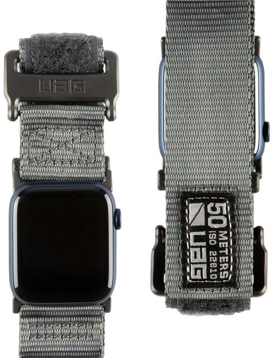 UAG nylonový řemínek Active Strap LE pro Apple Watch, 44/42mm, šedá