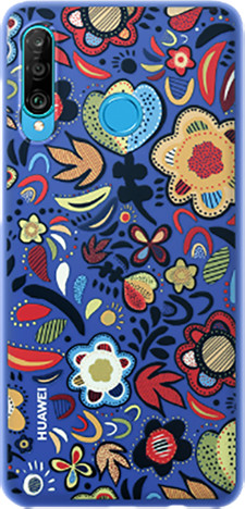 Huawei Original Colorful TPU pouzdro Flower pro P30 Lite, modrá