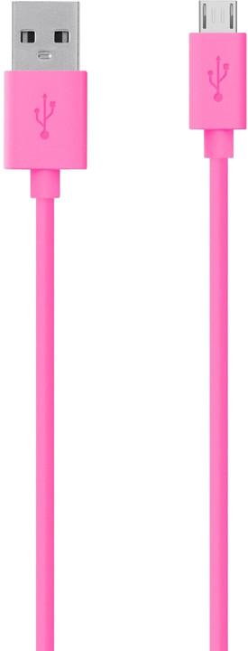 Belkin Mixit USB/microB, 2m, růžová