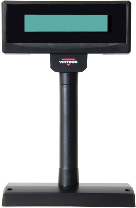 Virtuos FL-2024MW - LCD zákaznicky displej, 2x20, serial (RS-232), 12V, černá