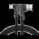 SWISSTEN datový kabel Arcade USB-A - microUSB, M/M, 3A, zahnutý konektor 90°, opletený, 1.2m, černá
