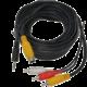 """PremiumCord kabel S-video + sjack3.5""""- 3xCINCH, 5m+kond."""