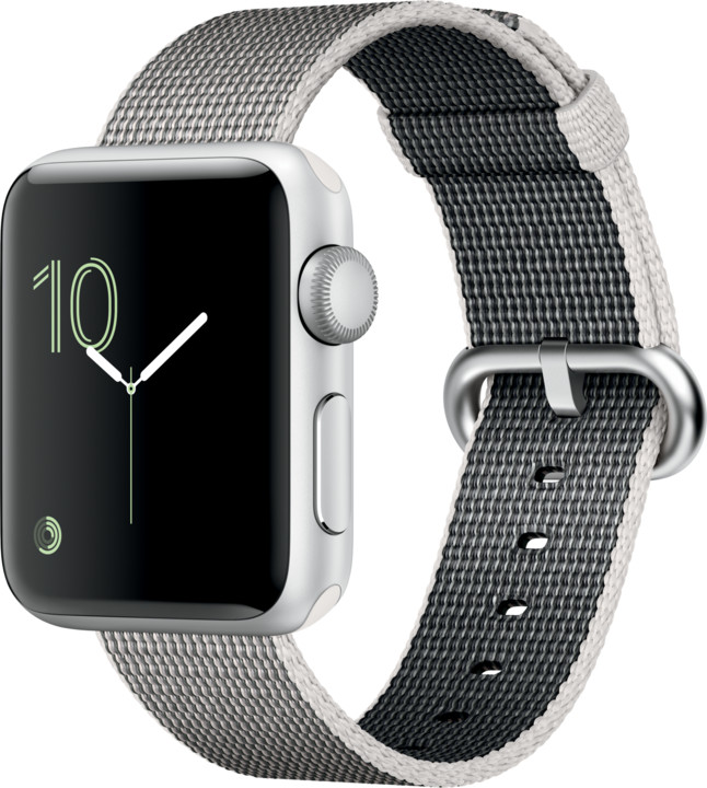 Apple Watch 2 38mm Silver Aluminium Case with Pearl Woven Nylon Band