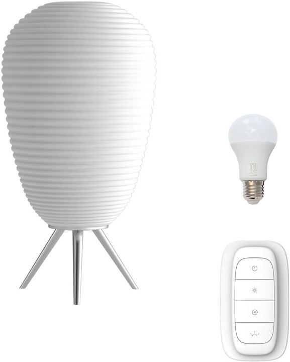 IMMAX NEO COCONO stolní lampa bílé sklo 24x43cm včetně Smart zdroje E27 RGBW