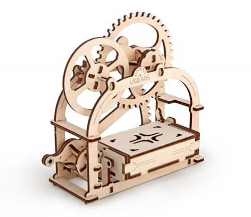 UGEARS stavebnice - Box na vizitky, dřevěná, mechanická