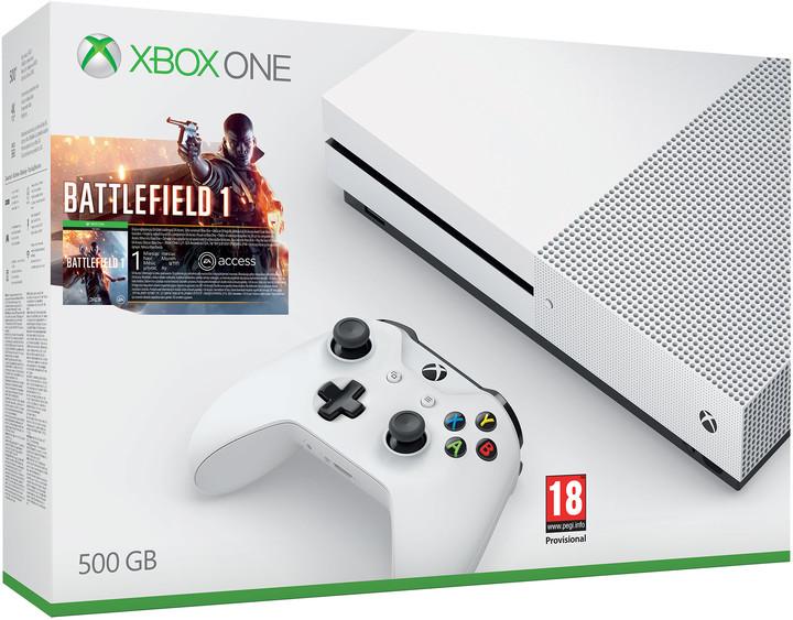 XBOX ONE S, 500GB, bílá + Battlefield 1