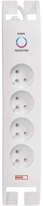 Emos přepěťová ochrana, 4 zásuvky, 2m, bílá