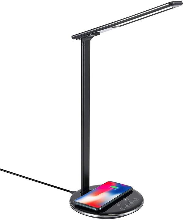 MiPow LED lampička, bezdrátové nabíjení Qi, 7,5 W, černá