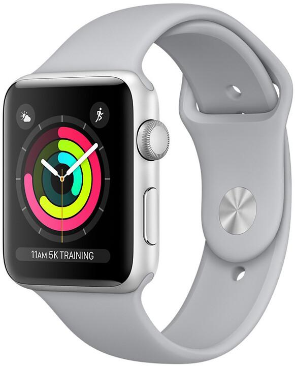 Apple Watch series 3 38mm pouzdro stříbrná/mlhově šedý řemínek