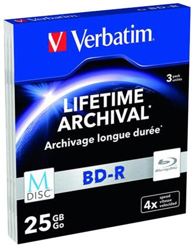 Verbatim BD-R, M-Disc, 4x, 25GB, 3 ks, slim