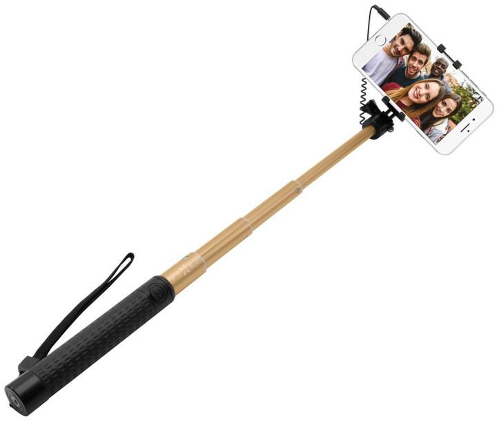 FIXED selfie tyč, teleskopická, zlatá
